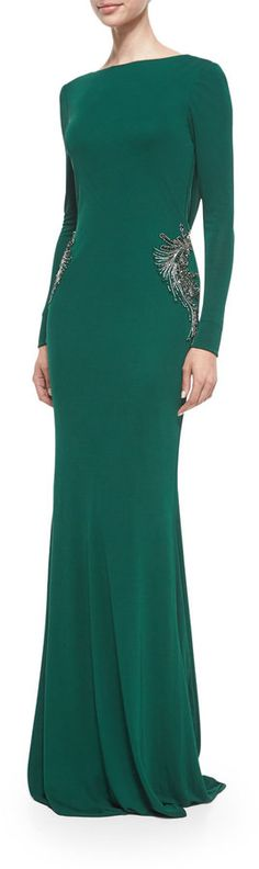 Badgley Mischka Long-Sleeve Draped-Back Beaded Gown, Emerald