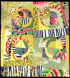 Take a look at this happy quilt by fiber artist Joanell . I love how the bold fabrics add so much excitement to this quilt. The best fa...