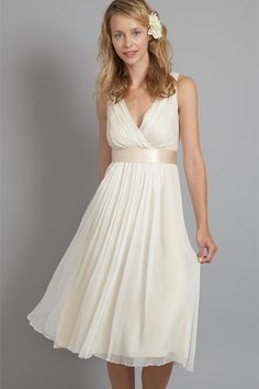 Sexy Deep V-neck Tea Length Light Champagne Chiffon Short Wedding Dress-- ((replace ribbon with crystal belt)) Short Wedding Gowns, Dresses To Wear To A Wedding, Bridal Dresses, Bridesmaid Dresses, Peach Dresses, Women's Dresses, Wedding Attire, Bridesmaids, Dream Dress