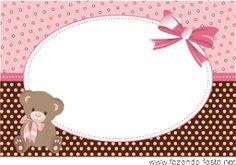 Preparando Nossa Festa!: Kit Festa Ursinha (rosa e marrom) fácil de editar e imprimir Baby Shower Background, Kids Background, Teddy Bear Party, Diy And Crafts, Paper Crafts, Baby Shawer, Baby Box, Cute Frames, Baby Album