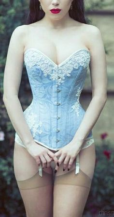 Vintage inspired over bust corset in pale blue and cream lace. Modern Victorian with suspenders and stockings