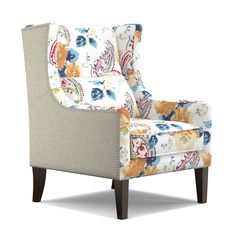 handy living isabella linen and english garden watercolor blue wing back chair by handy living