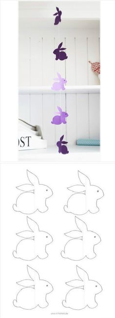 paques Little Rabbit wind chimes, curtain, can draw their own scissors, make their own.