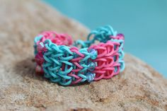 Rubberband Friendship Bracelet Pink and Teal with by JJJCrafts, $4.00