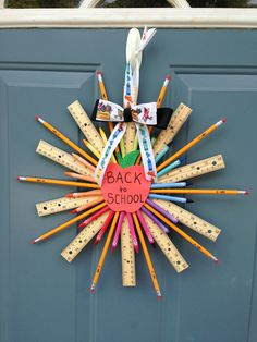 The back to school wreath I made for the  front door today!