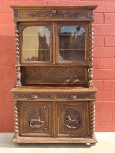 Antique Furniture French Antique Carved Hutch Sideboard Cabinet Cupboard Antique Hunt Cabinet