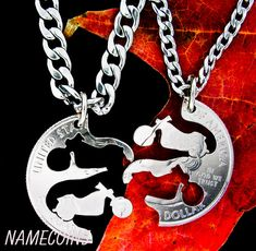 Harley Davidson Jewelry Motorcycle Couples Necklace by NameCoins, $34.99