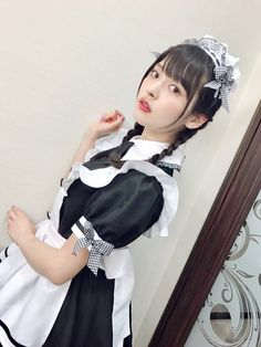 "Japanese School Girl Costume ""この表情(´°̥̥̥̥̥̥̥̥ω°̥̥̥̥̥̥̥̥`)"" - Cute Girl Outfits, Pretty Outfits, Costumes Japan, Maid Cosplay, Maid Uniform, Maid Outfit, Pigtail Braids, Japan Girl, Cute Asian Girls"