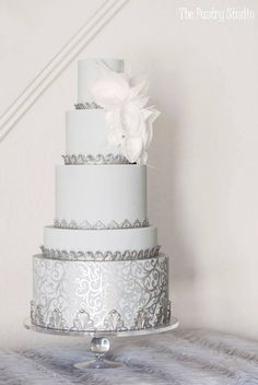 Featured Cake: The Pastry Studio; Featured Cake: The Pastry Studio; Wedding Cake Fresh Flowers, Cool Wedding Cakes, Elegant Wedding Cakes, Elegant Cakes, Beautiful Wedding Cakes, Wedding Cake Designs, Wedding Cake Toppers, Beautiful Cakes, Silver Wedding Decorations