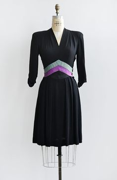 vintage 1940s black rayon dress with striped waist