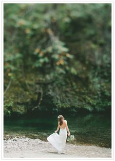Gorgeous #wedding photo of the bride in a beautiful wilderness location (Big Sur)! From http://100layercake.com/blog/2012/10/31/bohemian-big-sur-wedding-britt-bryan/  Photo Credit: http://onelove-photo.com/