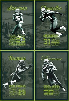 Legion of Boom Set / Seattle Seahawks, Richard Sherman, Kam Chancellor, Earl Thomas, and Brandon Browner★★★JMN