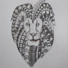 Lion with mandala mane design