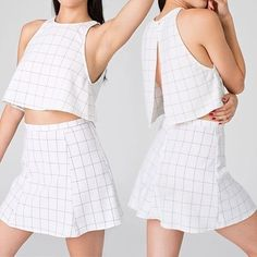 Lolita grid crop top Lolita grid crop top from American Apparel. Used once. Not sold on AA anymore. Slit in the back. American Apparel Tops Crop Tops