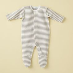 The Land of Nod | Baby Clothes: Khaki Stripe Organic Under The Nile Egyptian Cotton Footie in Footies & Rompers