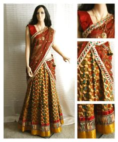 Ethnic Indian attire of Long skirt and blouse with   Long skirt made of olive green and maroon gold brocade silk with benarasi border with matching maroon silk blouse. maroon net Half saree drape with bright borders .   Charvi Art Studio - woodbridge, NJ