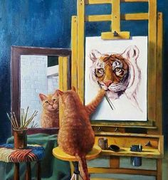 Inspiration for your paintings! Think big and be brave! Kitty cat painting self portrait, which he made a tiger! so cute sitting at his own easel!. Please also visit www.JustForYouPropheticArt.com for colorful inspirational Prophetic Art and stories. Thank you so much! Blessings!