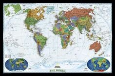 World Political Map, Decorator Style by Paul Souders Metal Prints Metal Print - 41 x 30 cm Framed Maps, Wall Maps, Framed Artwork, Accurate World Map, World Political Map, Cool World Map, National Geographic Maps, World Map Wallpaper, World Map Poster