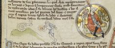 Knight v Snail (from a genealogical roll of the kings of England, England, 4th quarter of the 13th century, Royal MS 14 B V, membrane 3)