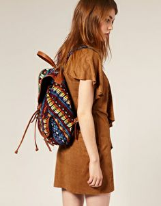 Leather trim aztec pattern backpack