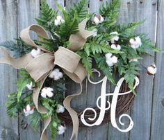 Cotton Wreath Cotton Burlap Wreath Cotton Decor by HornsHandmade