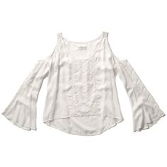 Abercrombie & Fitch Open Shoulder Peasant Blouse found on Polyvore featuring polyvore, fashion, clothing, tops, blouses, white, white rayon blouse, open shoulder top, white peasant top and white cold shoulder top