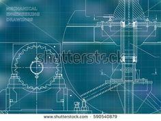 Blueprints. Mechanical construction. Engineering illustrations. Technical Design. Banner. Blue. Grid    #bubushonok #art #bubushonokart #design #vector #shutterstock  #technical #engineering #drawing #blueprint   #technology #mechanism #draw #industry #construction #cad