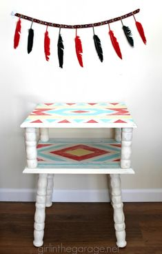 Tribal Table tutorial {Cowboys & Indians themed makeover} I girlinthegarage.net