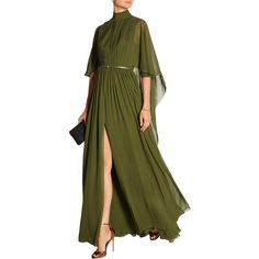 Elie Saab - Cape-effect Silk-chiffon Gown (150,370 PHP) ❤ liked on Polyvore featuring dresses, gowns, sleeve evening dress, green ball gown, silk chiffon dress, couture dresses and sleeved dresses