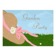 Daisies Straw Hat Garden Bridal Shower Invitation This cheerful bridal shower invitation features a straw hat with a pink ribbon band and w...