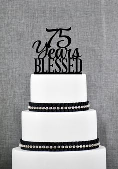 New to ChicagoFactory on Etsy: 90 Years Blessed Cake Topper Classy Birthday Cake Topper Anniversary Cake Topper- USD) Wedding Cake With Initials, Elegant Wedding Cakes, Monogram Wedding, Sophisticated Wedding, Lobster Cake, Love Cake Topper, Bolo Cake, 6 Cake, Tier Cake