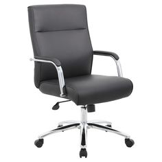Boss Office Products Black Contemporary Manager Chair at Lowe's. The modern executive conference chair in black is a fine looking chair made with high quality CaressoftPlus vinyl. CaressoftPlus is a trademarked, Black Office Chair, Executive Office Chairs, Office Desks, Conference Chairs, Structure Metal, Furniture Legs, Modern Chairs, All Modern, Diys