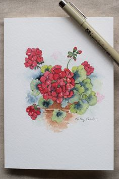 Red Geranium flower watercolor painting by SunsetPeonies on Etsy