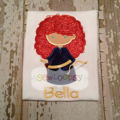 Brave Merida Inspired Cutie Applique Shirt/Bodysuit by SewLoopsy, $20.00