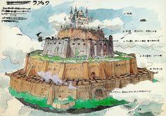 Film: Castle In The Sky ===== Background Design: Laputa ===== Production Company: Studio Ghibli ===== Director: Hayao Miyazaki ===== Producer: Isao Takahata ===== Written by: Hayao Miyazaki ===== Distributed by: Toei Company