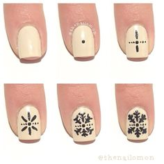 snowflakes nails tutorial by thenailomon. Nail art. Nail design. Polish. Polished. Polishes.