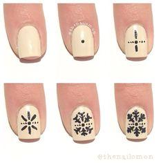 snowflakes nails tutorial by thenailomon. Nail art. Nail design. Polish. Polished. Polishes.