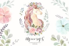 Ad: Unicorns & Flowers collection by MoleskoStudio on Unicorns & Flowers watercolor collection --- This is a New Watercolor Collection with cute unicorns, sloth and floral elements. Watercolor Unicorn, Watercolor Flower Wreath, Watercolor And Ink, Unicorn Illustration, Pencil Illustration, Graphic Illustration, Watercolor Illustration, Freelance Illustrator, Adobe Illustrator