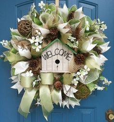Spring deco mesh wreath Summer deco mesh by WonderfulWreathsKim