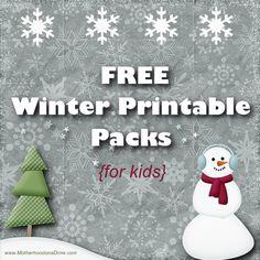 FREE Winter Printable Packs for kids {www.MotherhoodonaDime.com}
