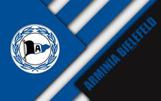 Download wallpapers DSC Arminia Bielefeld, logo, 4k, German football club, material design, blue black abstraction, Bielefeld, Germany, Bundesliga 2, football