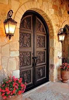 Ornate wood carved # and warm surrounding stonework