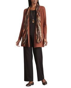 Long+Wool+Cardigan,+Long-Sleeve+Tee,+Blurred+Wrap+&+Straight-Leg+Ponte+Pants++by+Eileen+Fisher+at+Neiman+Marcus.