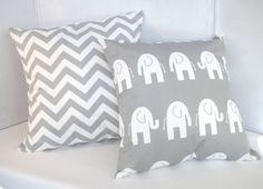 Pillow, Baby,  Nursery, Gray Chevron Pillow and Gray Elephant Pillow 18 x 18 via Etsy