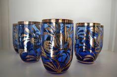 6 Bicchieri vetro e argento vintage