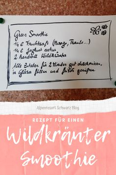 Naturpädagogin Barbara verrät uns am Alpenresort Schwarz Blog ein einfaches Rezept für einen Green Smoothie. Die Kräuter sind ruckzuck gesammelt für diesen gesunden Energielieferanten! Stress, Kraut, Smoothie, Blog, Recipe, Nature, Health, Smoothies, Blogging
