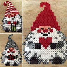 Christmas elves hama perler beads by camillalubcke by adele Melty Bead Patterns, Pearler Bead Patterns, Perler Patterns, Beading Patterns, Noel Christmas, Christmas Crafts, Christmas Ornaments, Christmas Perler Beads, Hama Beads Design