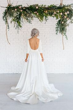 Modern Simple Long Sleeve A-Line Satin Wedding Dress With Open Back