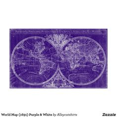 World Map (1691) Purple & White Poster