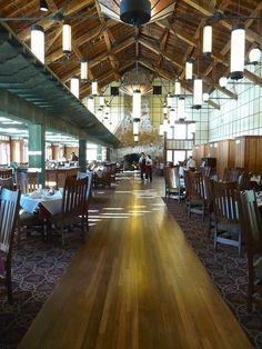The elegant Ptarmigan Dining Room in Many Glacier Hotel offers fine dining with a view in Glacier National Park.